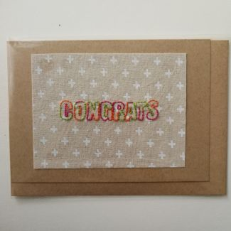 Embroidery on cotton, greeting card