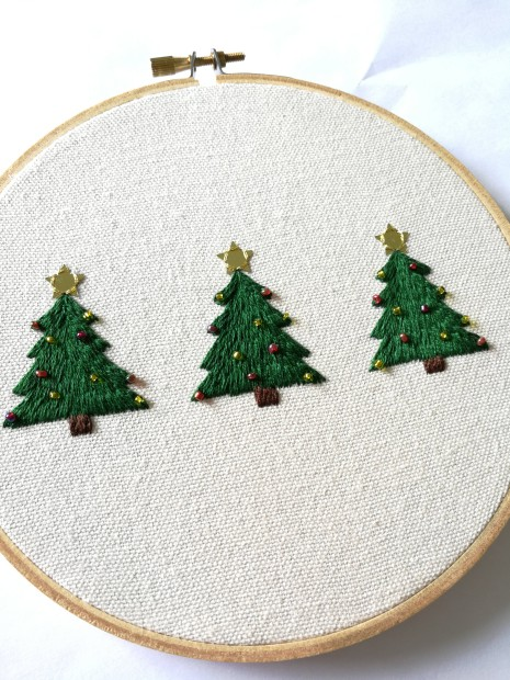 Embroidery and beading on cotton